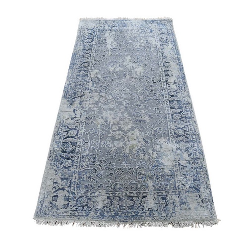 Broken Persian Erased Design With Pure Silk Runner Hand-Knotted Oriental Rug