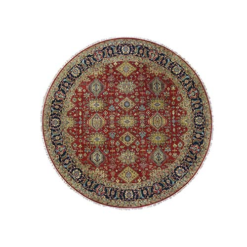 Red Round Karajeh Design Pure Wool Hand-Knotted Oriental Rug