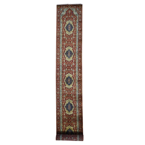 Red Antiqued Heriz Pure Wool Hand Knotted XL Runner Oriental Rug