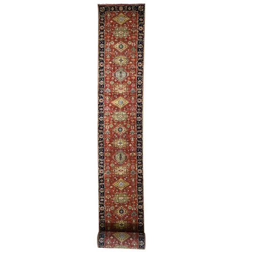 Red Karajeh Design Runner Pure Wool Hand-Knotted Oriental Rug