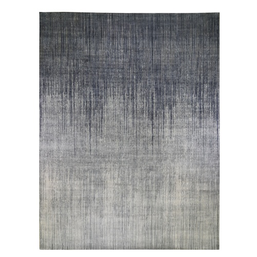 Gray Ombre Design Pure Silk Hand-Knotted Oriental