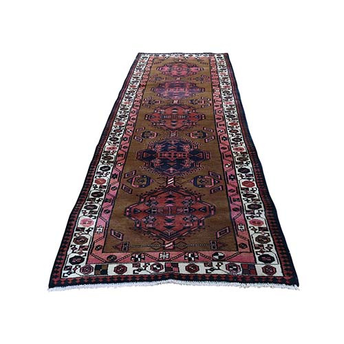 Brown Vintage persian Camel Hair Serab Pure Wool Hand-Knotted Oriental Rug