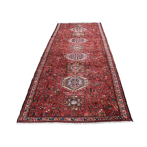 Red Semi Antique Karajeh Pure Wool Wide Runner Hand-Knotted Oriental