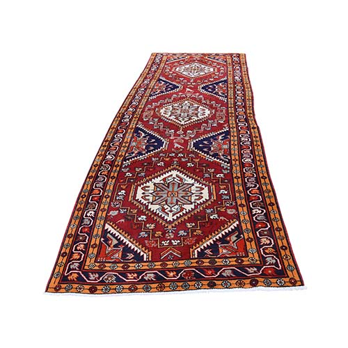Vintage North West Skewed With Orange Wide Runner Pure Wool hand-knotted Oriental Rug