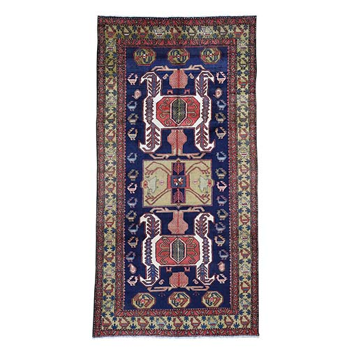 Vintage North West Persian With Ancient Peacocks Wide Gallery Runner Figure Motifs Hand-Knotted Oriental