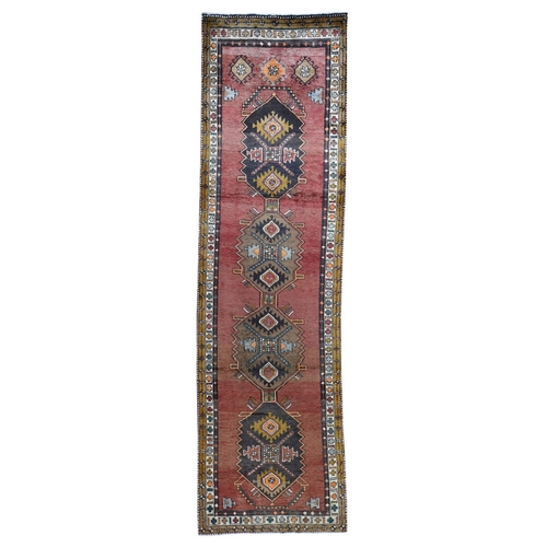Red Vintage Persian North West Wide Runner Hand-Knotted Oriental