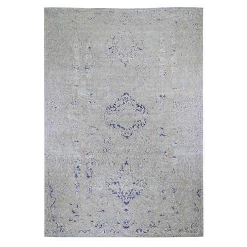 Oversized Diminishing Cypress Tree With Medallion Design Silk With Textured Wool Hand-Knotted Oriental
