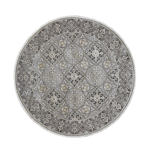 Textured Wool and Silk Mughal Inspired Medallions Round Hand-Knotted Oriental
