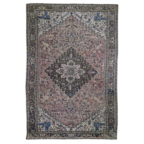 Faded Pink Gallery Size Antique Persian Heriz Good Condition Hand Knotted Oriental