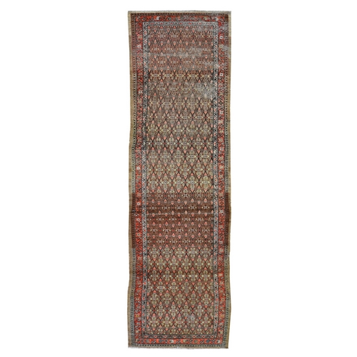 Antique Persian Seraband Camel Hair Worn Pile Clean Runner Hand Knotted Oriental