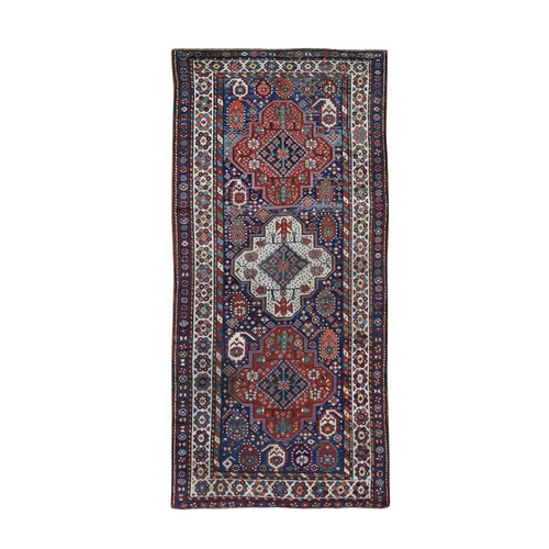 Blue Antique Caucasian Kazak Exc Con Hand Knotted Wide Runner Oriental
