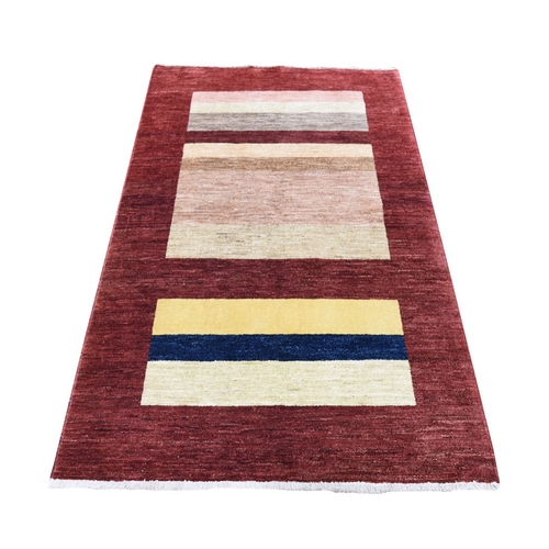 On Clearance Red Peshawar Gabbeh Pure  Wool Hand Knotted Oriental