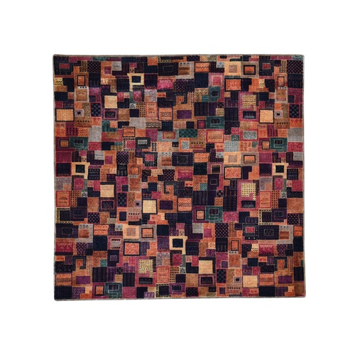 Multicolored Square Patchwork Gabbeh Wool And Silk Hand Knotted Oriental