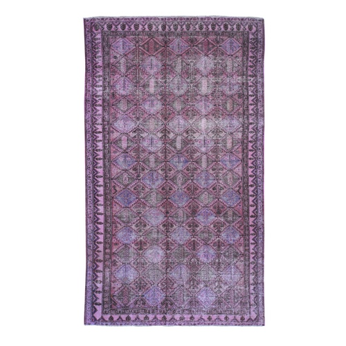 Overdyed Persian Hamadan Worn Pile Wide Runner Hand Knotted Oriental