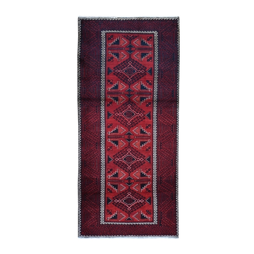 Red New Persian Baluch Pure Wool Wide Runner Hand Knotted Oriental Rug