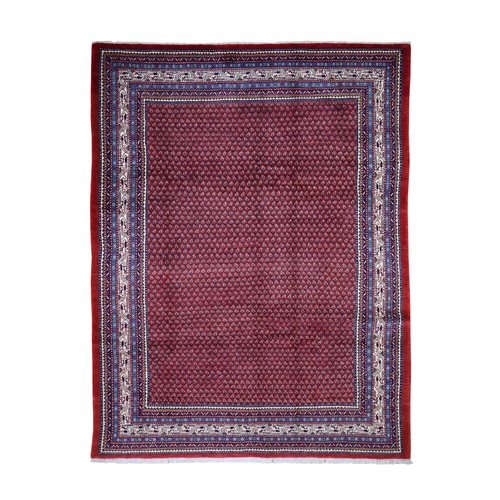 Red New Persian Sarouk Mir With Repetitive Design Pure Wool Oriental