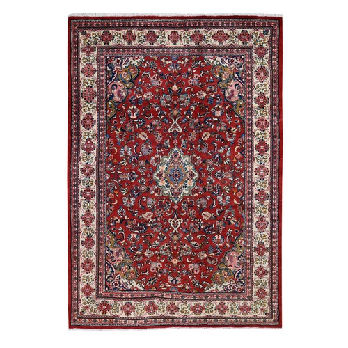 Red New Persian Mahal Full Pile Pure Wool Hand Knotted Oriental