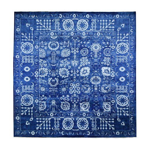 Blue Square Hand-Knotted Wool And Silk Tone On Tone Tabriz Oriental