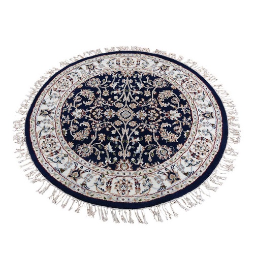 Navy Blue Round Nain Wool And Silk All Over Design 250 KPSI Hand Knotted Oriental Rug