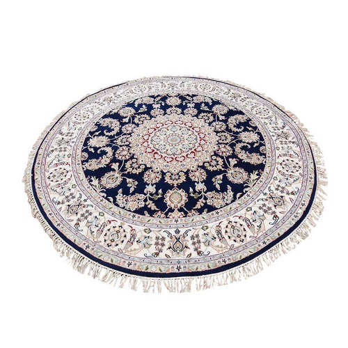 Hand Knotted 250 Kpsi Wool And Silk Navy Blue Nain Round Oriental Rug