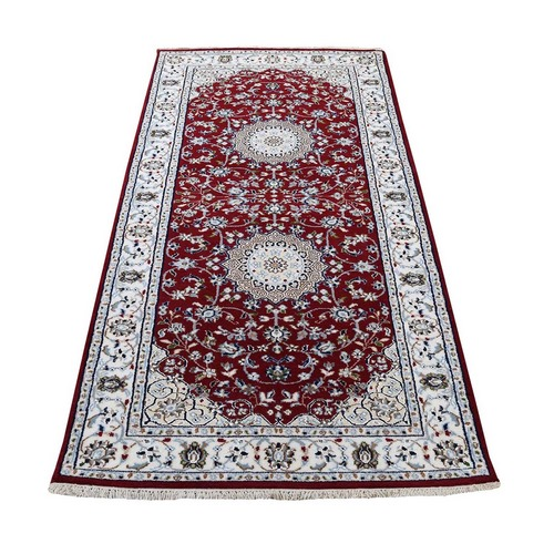 Red Runner Nain Wool And Silk 250 KPSI Hand Knotted Oriental Rug