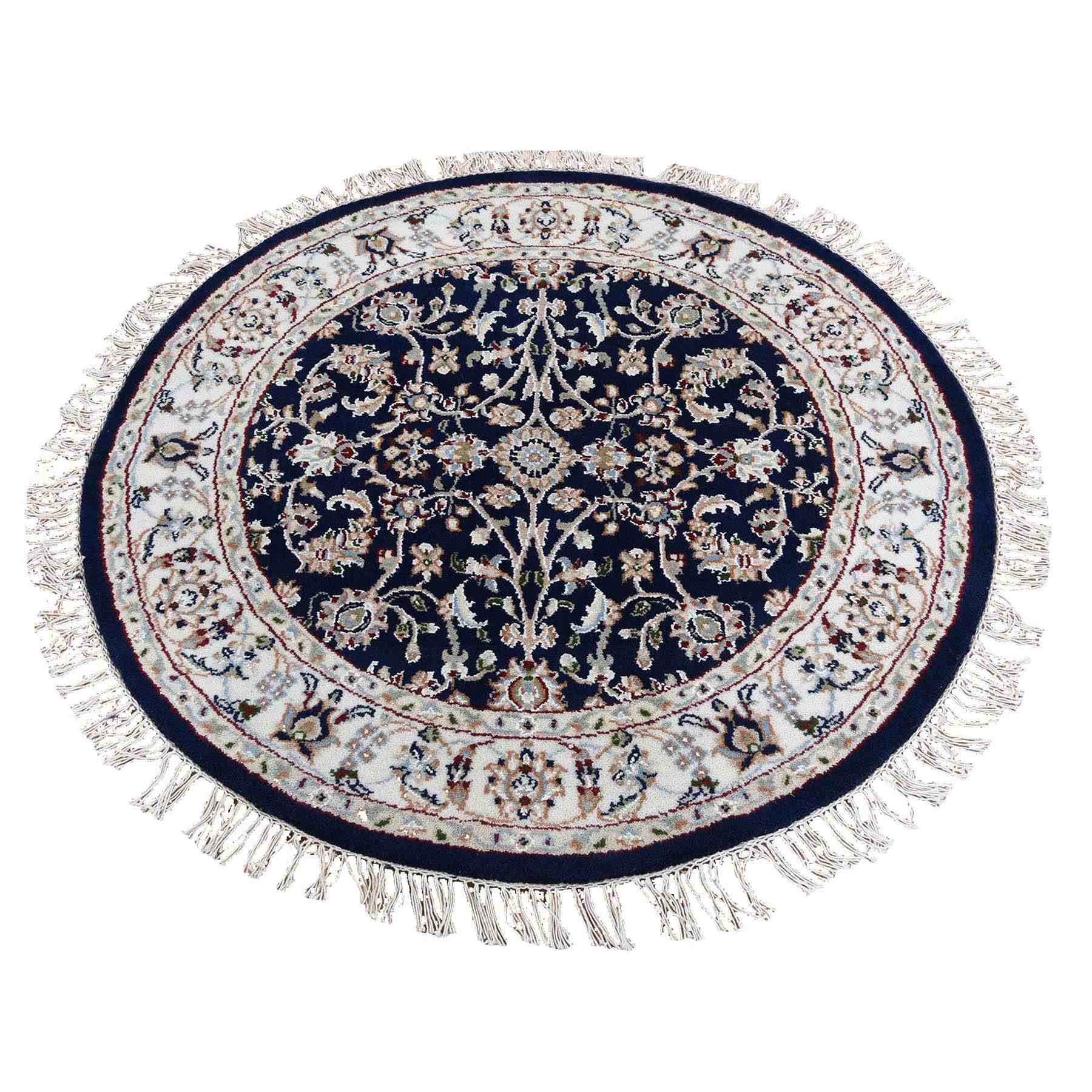 Blue Round Nain Wool And Silk All Over Design 250 KPSI Hand Knotted Oriental Rug