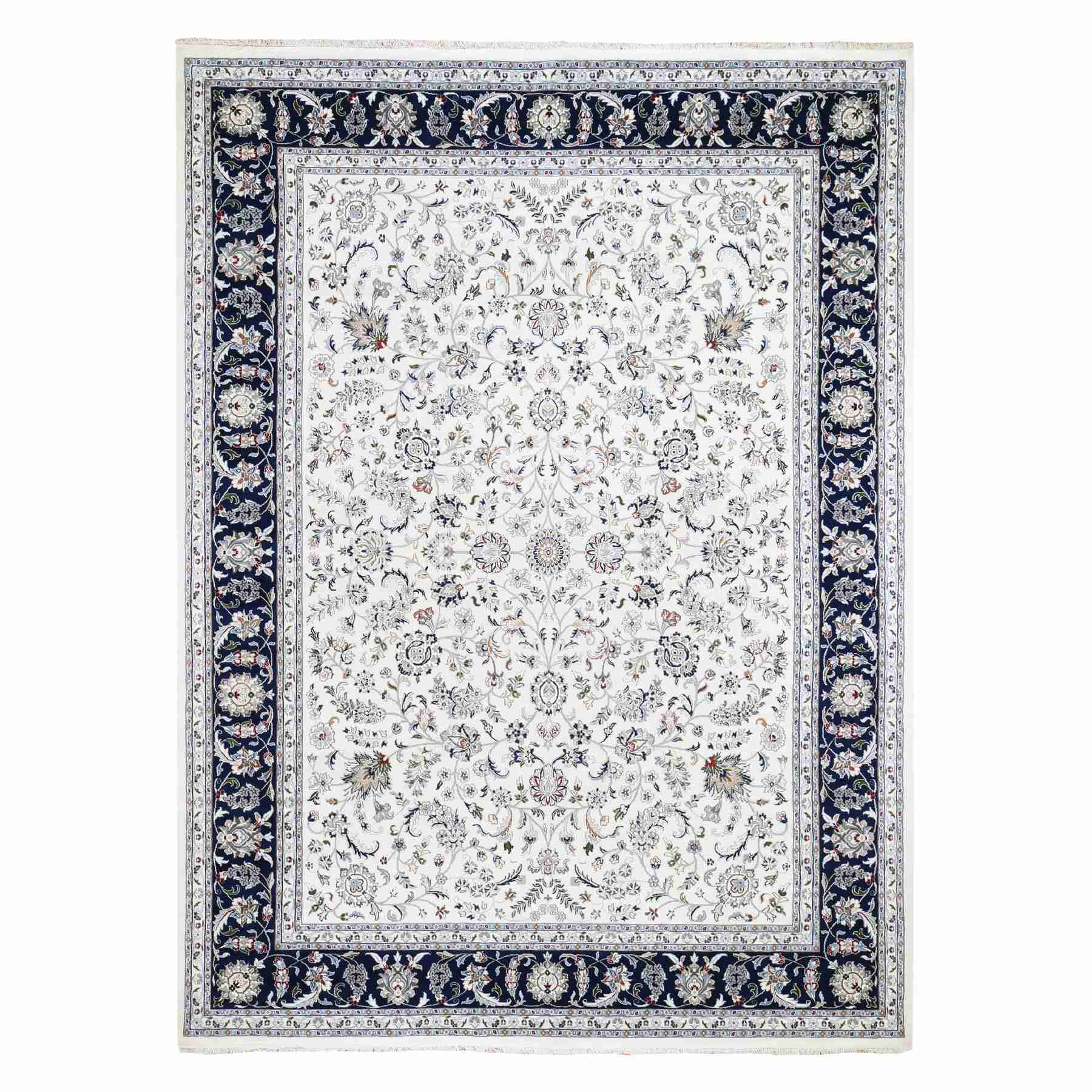 Wool And Silk 250 KPSI All Over Design Ivory Nain Hand Knotted Oriental Rug