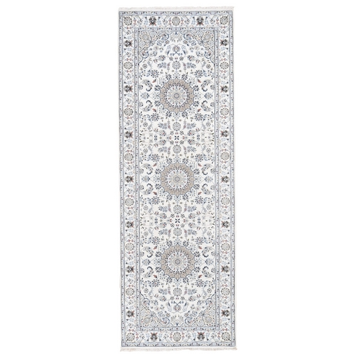 Ivory Wide Runner Nain Wool And Silk 250 KPSI Hand Knotted Oriental Rug