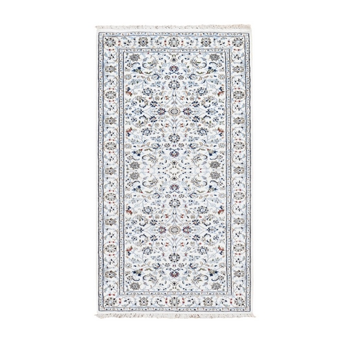 Ivory Nain Wool And Silk All Over Design 250 KPSI Hand Knotted Oriental Rug