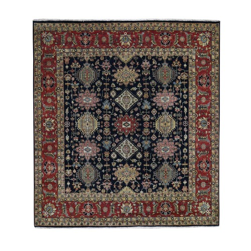 Square Black Hand Knotted Karajeh Design Pure Wool Oriental