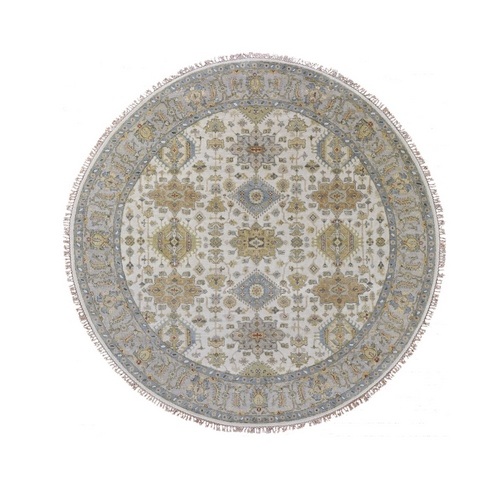 Round Ivory Karajeh Design Pure Wool Hand Knotted Oriental