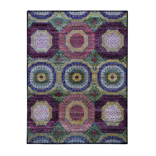 Colorful Mamluk Design Sari Silk With Textured Wool Hand Knotted Oriental Rug