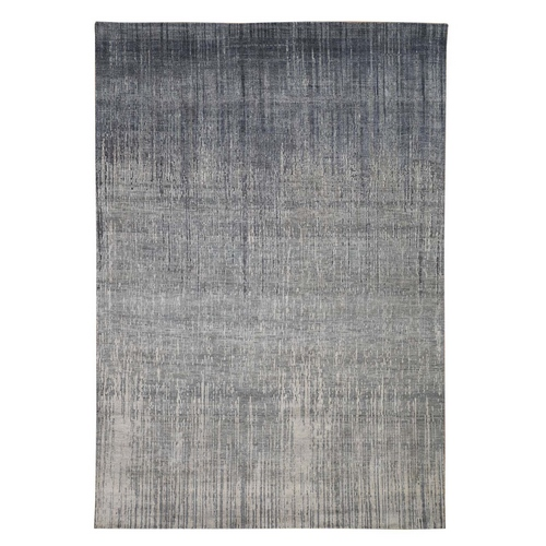 Gray Ombre Design Pure Silk Hand Knotted Oriental Rug