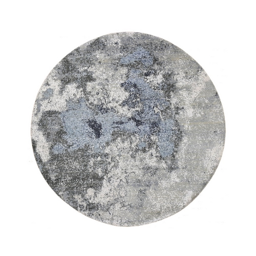 Gray Abstract Design Wool And Pure Silk Hand Knotted Round Oriental