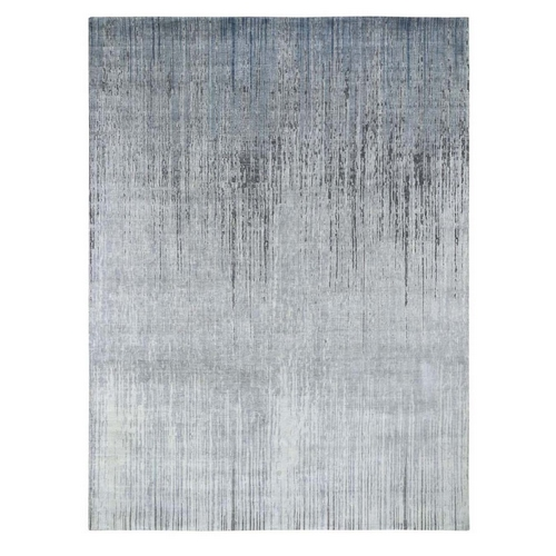 Ombre Design Pure Silk Hand Knotted Oriental Rug