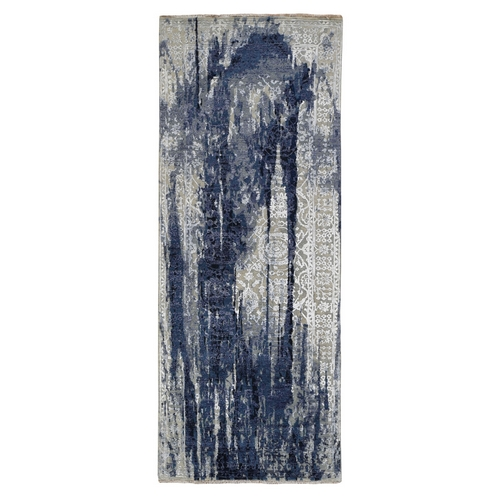 Wool And Silk Shibori Design Wide Runner Tone On Tone Hand Knotted Oriental