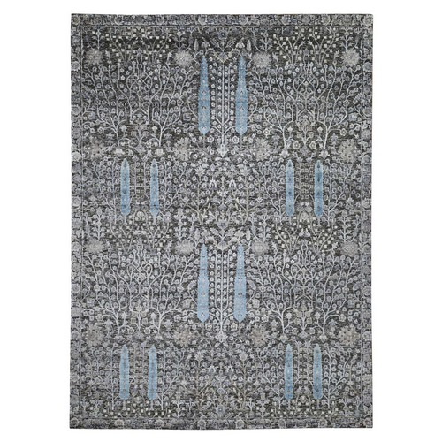 Hand Knotted Cypress Tree Design Silk with Textured Wool Oriental Rug