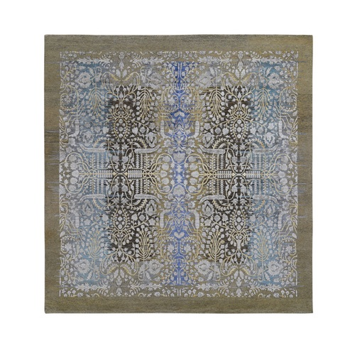 Square Silk with Textured Wool Transitional Sarouk Hand Knotted Oriental