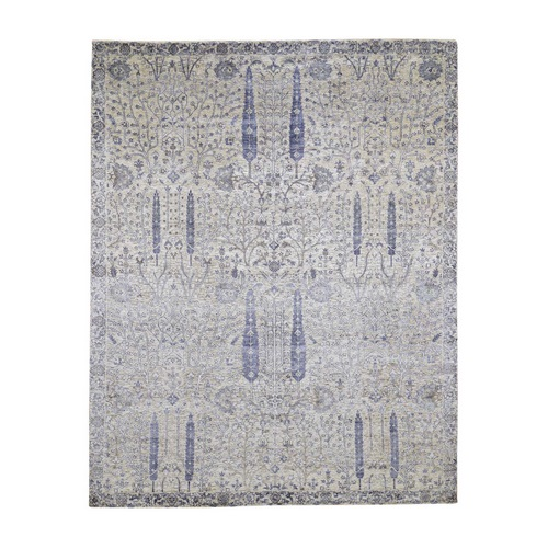 Willow And Cypress Tree Design Silk With Textured Wool Hand Knotted Oriental