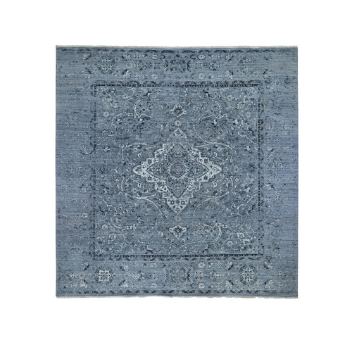 Square Gray Broken Persian Erased Design Pure Silk With Textured Wool Hand Knotted Oriental