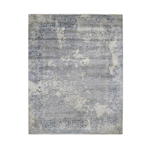 Gray Broken Persian Design With Pure Silk Hand Knotted Oriental Rug