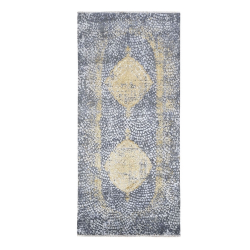 Gold Persian Design Wool And Pure Silk Runner Hand Knotted Oriental Rug