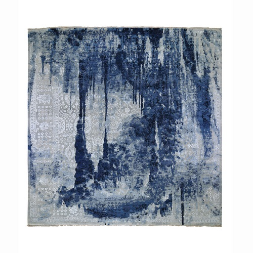 Square Wool And Silk Shibori Design Tone On Tone Hand Knotted Oriental