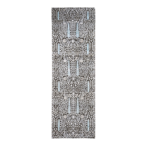 Hand Knotted Cypress Tree Design Silk with Textured Wool Wide Runner Oriental