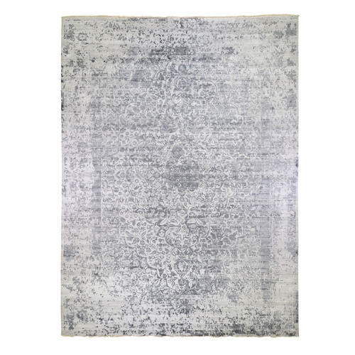 Oversized Silver-Dark Gray Erased Persian Design Wool and Pure Silk Hand Knotted Oriental Rug
