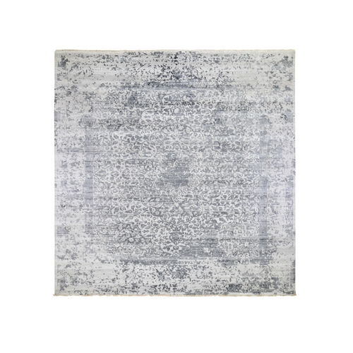 Square Silver-Dark Gray Erased Persian Design Wool and Pure Silk Hand Knotted Oriental Rug