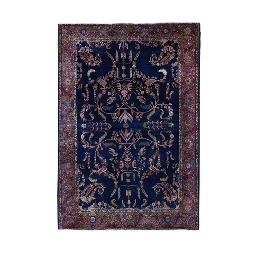 Navy Blue Antique Persian Mohojaren Sarouk Soft And Clean Hand Knotted Oriental