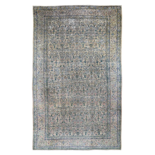 Gallery Size Antique Persian Kerman Some Wear Hand Knotted Oriental Rug