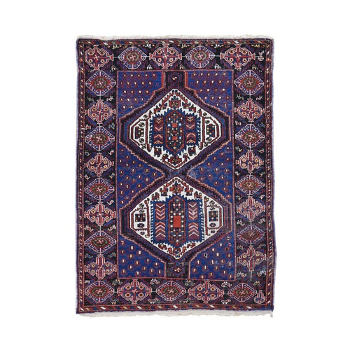 Blue Antique Persian Afshar Even Wear Hand Knotted Oriental
