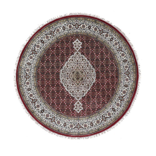 Round Red Tabriz Mahi Wool and Silk Hand Knotted Oriental